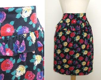 Vintage 1990s Ungaro Ter Dark Floral Cotton High Waist Skirt with Ruffle Peplum