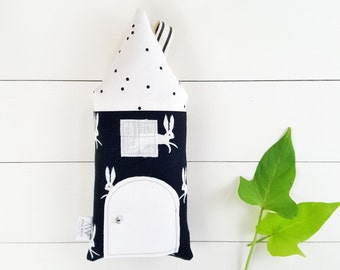 Tooth Fairy Pillow, Tooth Fairy Pillow Boy, Tooth Fairy Pillow Girl, Tooth Fairy Door, Black and White, Rabbit House,