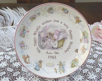 Wedgwood Peter Rabbit 1982 Birthday Plate, Beatrix Potter Peter Rabbit 1982 Birthday