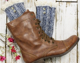 lace boot socks, womens boot socks, combat boot socks, lace ankle socks, cowboy boot cuffs NORDIC LACE in Denim Catherine Cole Studio SLX1B