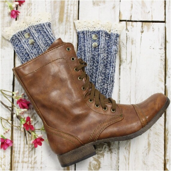 lace boot socks, womens boot socks, combat boot socks, lace ankle socks, cowboy boot cuffs NORDIC LACE in Denim Catherine Cole Studio SLX1B