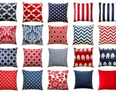 Patriotic Pillows, Red White and Blue Pillow Cover, Zippered Pillow, USA Cushion Cover, 4th of July Decor, American Decorative Throw Pillows