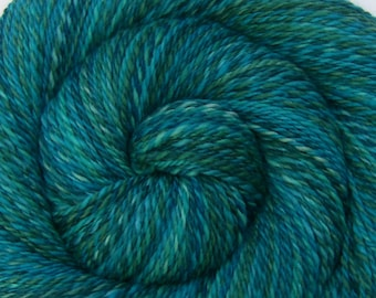 Luxury Handspun Yarn - JERVIS INLET - Hand painted Silk / Polwarth wool, DK weight, 330 yards