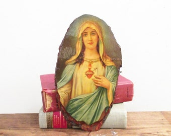Vintage Sacred Heart Mary Wood Slab Plaque | Vintage Catholic Wall Art | Kitsch Wall Art