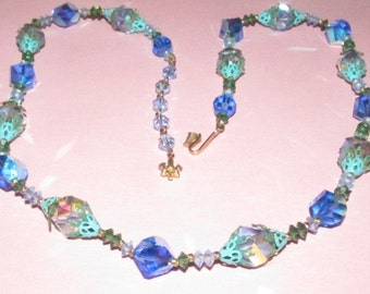 Vintage Vendome Blue Swarovski Sapphire Aurora Borealis Crystal Necklace