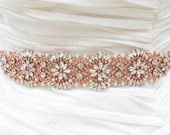 ROSE GOLD Bridal Sash Belt, Bridal Belt, Sash Belt, Wedding Dress Belt, Crystal Rhinestone Belt