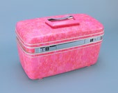 HOT PINK SAMSONITE Silhouette Train Case Vintage Tote Cosmetic Makeup Carry On Travel Vintage Suitcase Luggage