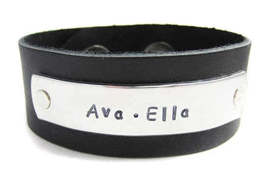 Women's Personalized Leather Cuff // Hand Stamped Engraved Bracelet // Custom made // Gifts for her
