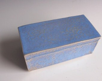 Handmade ceramic keepsake box- blue