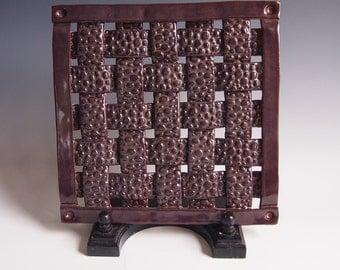 Handmade ceramic woven trivet/hot plate- charcoal brown