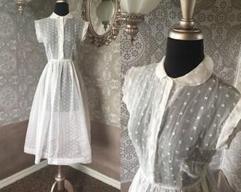 Vintage 1940's 50's Sheer White Eyelet Dress Small