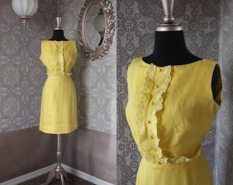 Vintage 1960's Lemon Yellow Linen Fitted Dress XS
