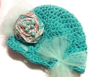 Newborn Baby Girl Vintage Look Teal Aqua color Hand Crocheted Cotton Hat with Rosette accent 0-3 months