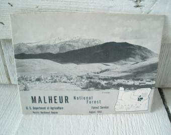 Vintage Oregon map Malheur National Forest guide hiking camping folded 1955
