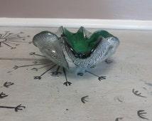 Murano Glass Ashtray Venetian Art Glass Cigar Bowl Glass Ashtray Emerald Green Art Glass with Silver Flakes