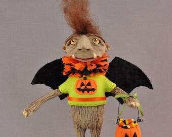 OOAK Halloween Troll Polymer Clay Figurine