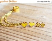 VALENTINES DAY SALE Yellow Heart and Flower Ear Cuff Set