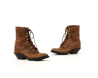 ON SALE Vintage 1980's Laredo Brown Leather Lace Up Hook-and-Eye Stacked Heel Woodland Ankle Boots 8