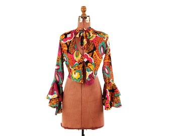 Vintage 1970's Sheer Cotton Gauze Bell Sleeve Hippie Tie Crop Rainbow Gypsy Novelty Print Boho Blouse Shirt Top S M