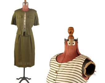Vintage 1950's Olive Green + Cream Pin Stripe Linen Colorblock Two Piece Dress Jacket Day Set L
