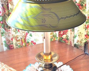 Tole Table Lamp Brass Yellow Shade Vintage
