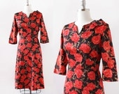 1950s Rose Print Dress / Red and Black 1950s Dress / Elbow Length Sleeves / Cocktail Dress / 1950s Dress / Medium Large