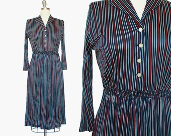 Red White and Blue Stripes / 1960s Dress / Striped Day Dress / Jersey Dress / 1970s Dress / 1970s Striped Dress /