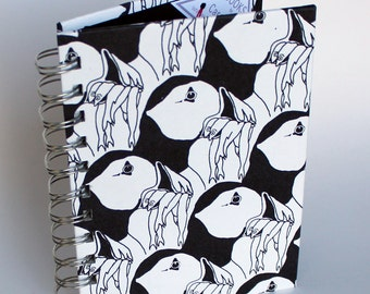 A6 ring bound notebook in black and white original 'puffin' design