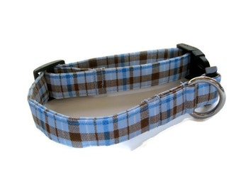 Blue and Brown Plaid Dog Collar size Medium