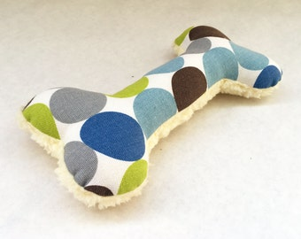Squeaky Plush Dog Bone Toy, Dwell Studio, Spring Blue, Lime Green, Denim Blue, Gray, and Ivory Polka Dot Print with Soft Fleece Backing