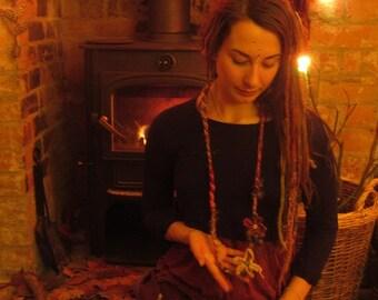 Buy One GET ONE FREE! Handspun Necklace Cuff Bracelet Felted Scarf Wool Silk Felt Jewellery Rustic Jewelry Woodland Natural Lagenlook Lariat