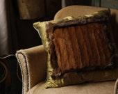 Handmade Real Fur and Silk Cushion Pillow with Damask Jade Green Gold Italian Silk