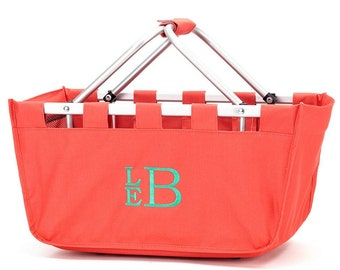 Monogrammed Coral Market Tote, Monogrammed Coral Market Basket, Farmers Market Basket, Market Tote Bag,Coral Tailgate Tote Bag,Game Day Tote