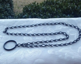 Black Matte Chain ID Badge Lanyard Half Flat Curb Chain Lanyard