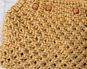 Vintage 1970's Knitting Sewing Craft Storage Bag Jute Macrame Wooden Handle Handmade Handbag