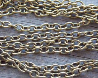 16 Ft Antiqued Bronze Cable Chain 5mm by 3.5mm NIckel Free