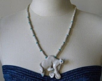Retro Hippie Chic 1985 Handmade Panther FELINE Character Ceramic Necklace SIGNED