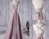 2017 Thistle Bridesmaid Dress Convertible Straps, A Line Wedding Dress,Draped Prom Dress, Backless Evening Gown, Long Formal Dress (JS081)