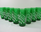 Vintage EMERALD GREEN TUMBLERS White Lily of Valley Glass Set/8 Barware