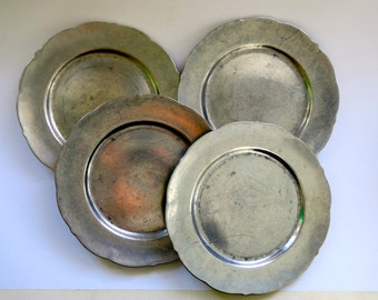 4 Antique Pewter Plates Marked Pacific 1929