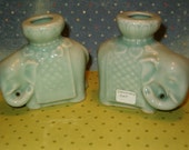"Vintage Celedon Elephants Candle Holders Set, 3.5""H, Thick, Lovely, No Chips, Soft Celedon Green, Fully Marked"