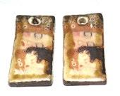Unusual Klimt Ceramic Earring Charms Pair Rustic Stoneware Pottery