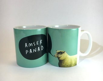 Amser Panad Turquoise Art Welsh Text Ceramic Mug 11oz - Time for Tea