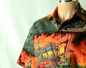 Zombie Drive-In Men's Shirt, 50s Pin Up Girl Zombies and Drag Racing, Short Sleeved, Big and Tall, XS-6Xl, Orange, Gray, Black