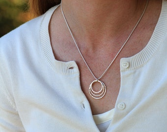 Sterling Silver 3-ring necklace, Great Basic Necklace, Geometric Necklace