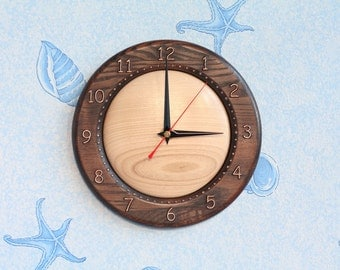 Wood wall clock Wood clock Wooden clock Round clock Christmas gift Birthday gift Room decor for Kitchen decor