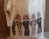 Tote Bag-cotton Tote Bag-inkjet transfer print -colour calico-image Title Sister Hood- from an original hand drawing.