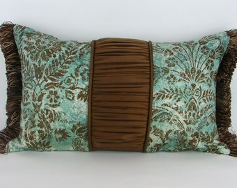 12 x 20 Lumbar Pillow Cover Seafoam Green Teal and Chocolate Brown Trim Silk