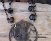 Nautical ship necklace, statement black jet beads. Flea market find