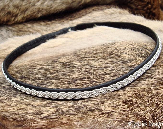 LIDSKJALV Viking Collar Black Reindeer Leather Swedish Sami Necklace Choker with Spun Pewter braid - Handcrafted Nordic Chic Elegance